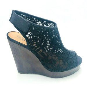 Lucky Brand Wedges Booties Lace Uppers 7 M